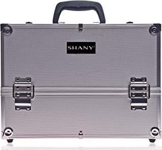 SHANY Essential Pro Makeup Train Case with Shoulder Strap and Locks - Silver