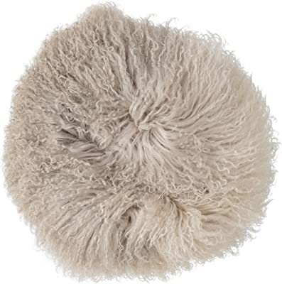 Bloomingville Dip Dyed Stone & Off White Round Tibetan Lamb Fur Pillow