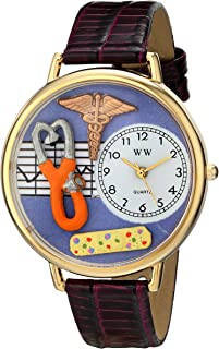 Whimsical Watches Nurse 2 Purple in Gold Women's Quartz Watch with White Dial Analogue Display and Purple Leather Strap G-...