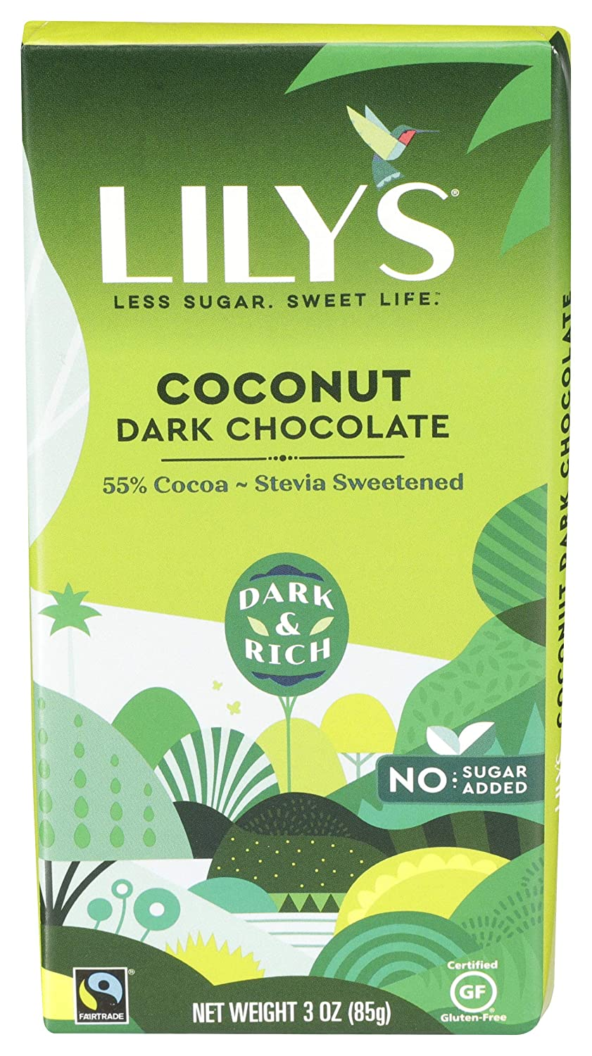Lily's Sweets Coconut Dark Bar Chocolate 2021 spring and summer Regular dealer new Ounce 3