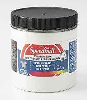 Speedball Opaque Fabric Screen Printing Ink, 8-Ounce, Pearly White