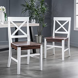 Christopher Knight Home Truda Farmhouse Acacia Wood Dining Chairs Finish Frame, White/Walnut