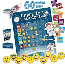 Chart to Success| Magnetic Dry Erase| Daily Routine Responsibility Chore Chart for Kids| 80 Emojis| 60 Tasks, Including Behavior and Self-Care| Fun Design for Both Boys and Girls| Raising a Star