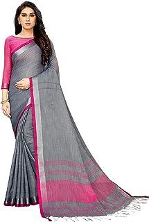 PERFECTBLUE Women's Linen Saree With Blouse Piece(CatonicBorder)