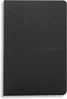 5.7 x 3.8 inches NoteBook Handmade Soft Black Fabric Cover, 192 lined Pages | Lay Flat Binding | Cream Paper, A6 Size