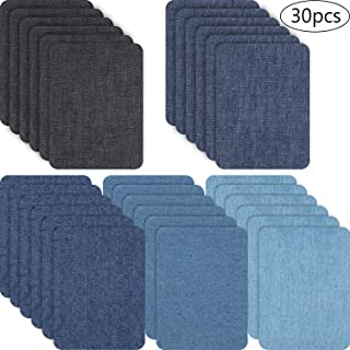 30 Pieces Iron on Patches Iron on Denim Patches Repair Kit for Clothes, Jeans, Jackets, Large Size, 4.9 x 3.7 Inch (Denim Cloth, Colour 1)