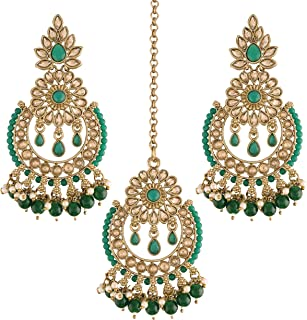 I Jewels 18K Gold Plated Traditional Handcrafted Earrings with Maang Tikka Encased with Faux Kundan & Pearl for Women/Girls