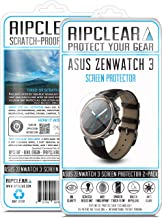 RIPCLEAR for Asus ZenWatch 3 Smartwatch Screen Protector Kit - Scratch-Resistant, All-Weather Protection, Crystal Clear - 2-Pack