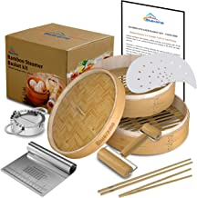 Bamboo Steamer basket Kit 10 inch with Lid,Dumpling Maker,handmade Cookware for cooking,Two Tier,Healthy Food Steamer,Chin...