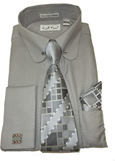 SX4393 Mens Silver Gray Round Eyelet Collar Bar French Cuff Dress Shirt