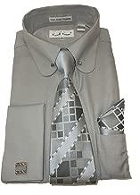 Karl Knox SX4393 Mens Silver Gray Round Eyelet Collar Bar French Cuff Dress Shirt