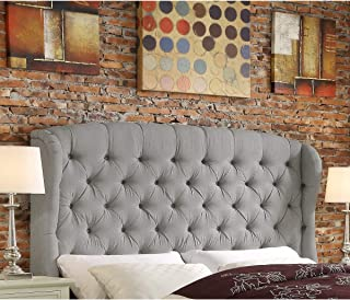 Rosevera Leatham Upholstered Wingback Headboard (Queen, Gray)