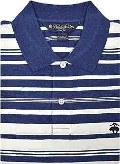 Brooks Brothers Men's Slim Fit Cotton Linen Blend Performance Polo Shirt Blue White Striped