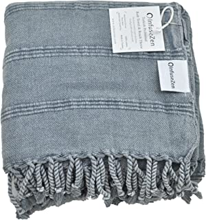 (Denim) - Stonewashed Turkish Towel, InfuseZen Unique Thin & Absorbent Bath Towel, Beach Towel and Pool Towel, Large Cotto...