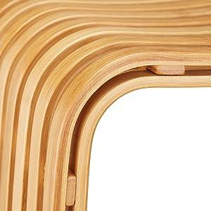 Relaxdays Sgabello da Ingresso in bambù Elegante Pouf di Legno Design scandinavo sediolina per Guardaroba Beige