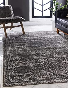 Unique Loom Bromley Collection Vintage Traditional Area Rug, 9 x 12 Feet, Dark Gray/Ivory