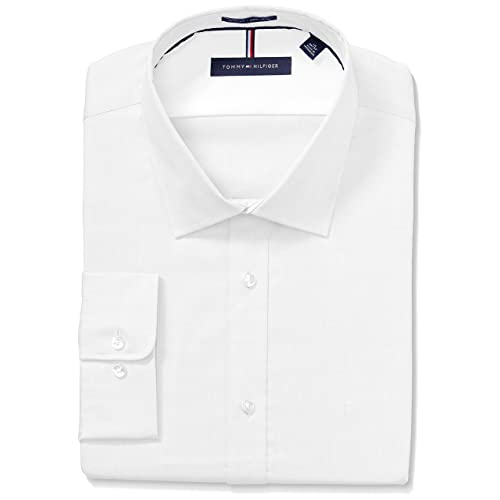 3ad2c8a17 Tommy Hilfiger Men's Dress Shirts Non Iron Slim Fit Solid Spread Collar