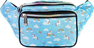 SoJourner Holographic Rave Fanny Pack - Packs for festival women, men | Cute Fashion Waist Bag Belt Bags (Unicorns & Rainbows)