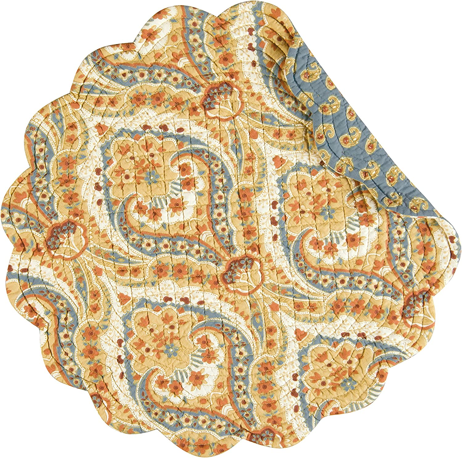 CF Home Excellent Mandalay Tan Brown Blue Damask Max 63% OFF Rev Cotton Round Quilted