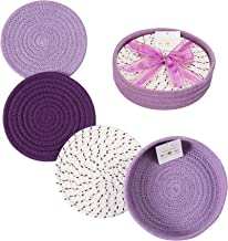 Woven Cotton Trivet Set with Holder, Hot Pads for Table, Farmhouse Kitchen Counter Decor (Purple)