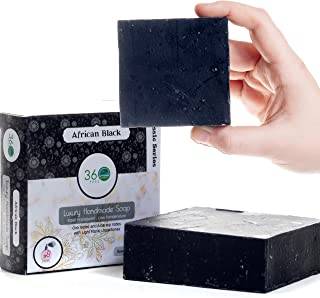 360Feel African Black Soap - Mens Soap- Large 5oz Organic Castile Handmade Moroccan Soap bar - with Oak moss, Aloe top notes with floral undertones- Essential Oil Natural Soaps- Great as Gifts