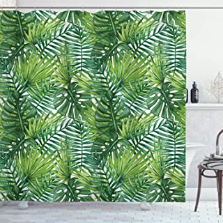 Ambesonne Leaf Shower Curtain, Tropical Exotic Banana Forest Palm Tree Leaves Watercolor Design Image, Cloth Fabric Bathroom Decor Set with Hooks, 70
