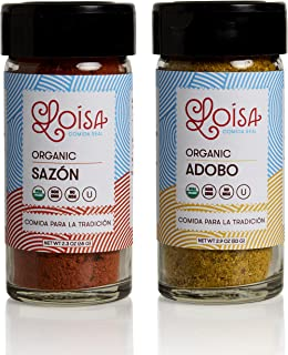 Loisa Sazon & Adobo Organic Seasoning (2 Pack Variety), Contains 1 Sazon & 1 Adobo Seasoning, USDA Organic, Non-GMO, No-MSG, No Preservatives, No Artificial Coloring, No Artificial Flavors, Vegan