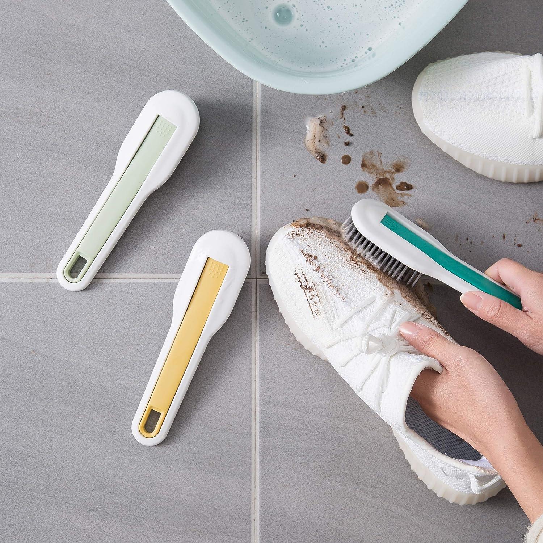 HONOMA Sneaker Cleaner Brush,Scrub Brush,Multi Purpose Cleaning Brush Shoe Care 2-in-1 Brush Made with Nylon Bristle Green