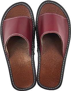 OSVINO Pantofole Corium Uomo Donna Ciabatte Dita Aperto Vera Pelle Vacchetta Antiscivolo Suola Scarpe Resistente Morbida C...