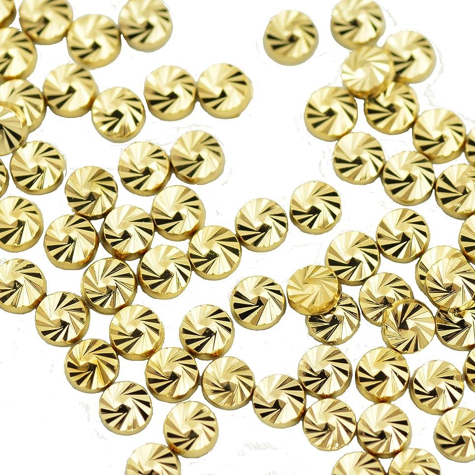 繁栄するわかるハンディBuddy Style ネイルパーツ デコパーツ スタッズ コインスタッズ ゴールド 1.8mm 20個