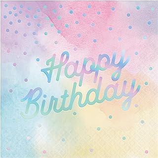 Creative Converting 336699, IRIDESCENT LUNCHEON NAPKIN, HAPPY BIRTHDAY, 0.055x12.75x12.875inc