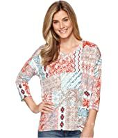 Tribal - Printed Jersey 3/4 Sleeve Drop Shoulder V-Neck Top