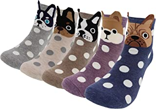 AnVei-Nao Womens Cartoon Cute Huskies Schnauzer Dog Cotton Crew Socks 5 Pairs