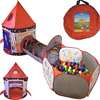 Playz 3pc Rocket Ship Astronaut Kids Play Tent, Tunnel, & Ball Pit with Basketball Hoop Toys for Boys, Girls, Babies, and ...