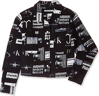 تي شيرتات Calvin Klein جينز للسيدات من قماش قطني مضلع / قمصان منسوجة، أسود (Punk Aop 0GS)، مقاس كبير