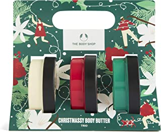 The Body Shop Christmassy Body Butter Trio with our warm Vanilla, sweet Berry and floral Jasmine moisturisers