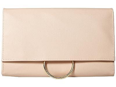 Jessica McClintock Nora Ring Flap Clutch (Nude) Clutch Handbags