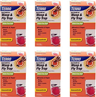 Terro T513 Wasp and Fly Trap Refill Pack; Trap and Kills Flies, Wasps, Hornets and Yellow Jackets; For Use with T512 Wasp and Fly Trap; Easy To Use Bait; Odorless, Red, Pack of 6