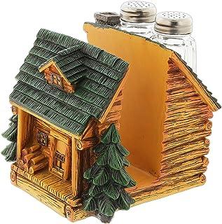 Resin Log Cabin Napkin Holder Salt & Pepper Shaker Set