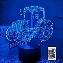 FULLOSUN Tractor 3D Illusie Lamp Verjaardagscadeau Nachtlampje Kids Naast Tafellamp, 16 Kleuren Auto Veranderende Touch Sc...