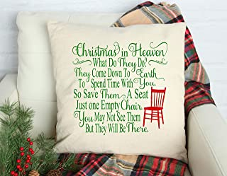 Christmas in Heaven Empty Chair Throw Pillow Holiday Home Decor In Memory of Loved One