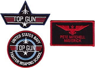 Maverick Top Gun School Name Badge Costume Patch 3 pcs Set iron on sew on