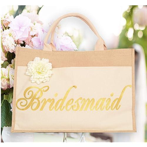 MEANT2TOBE Bridesmaid Tote Bag | Bridal Party Totes| 100% Linen and Cotton| Bridal