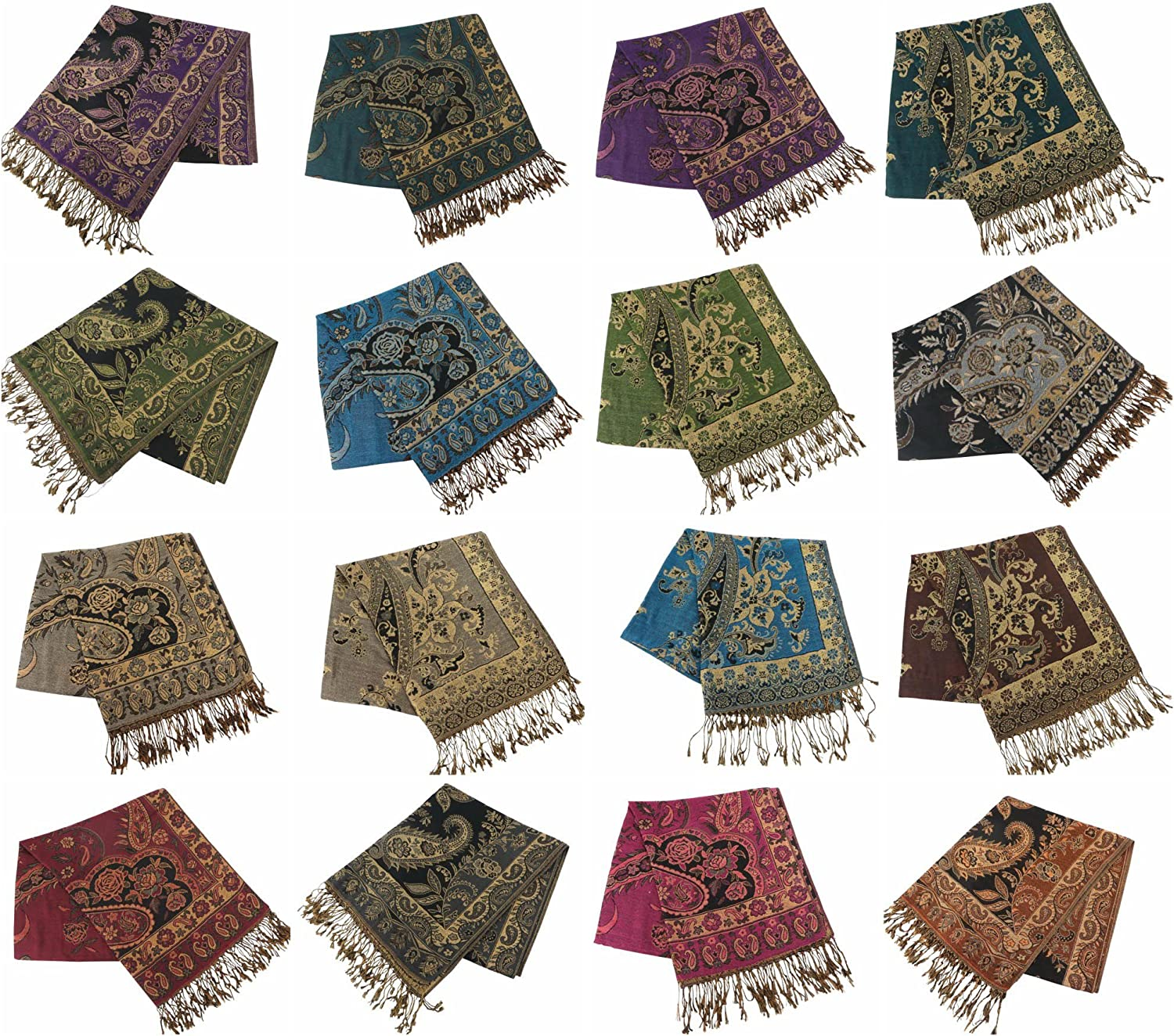 12 scarves floral paisley gold thread embeded pashmina shawl wrap stole Winter dressy Discount Scarf
