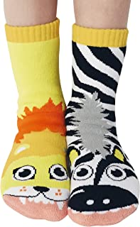 Kids Lion & Zebra Jungle Animal Pals Mismatched Silly Cozy Socks for Boys Girls with Nonskid No Slip Grippers