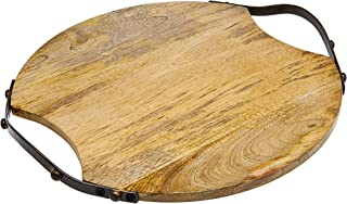 Godinger Wood Serving Tray, Charcuterie Platter Cheese Board with Metal Handles - Round - Large