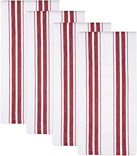 Sticky Toffee Cotton Kitchen Dish Towels, 4 Pack, 27.5 in x 19.5 in, Basket Weave Red