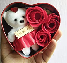 SillyMe Valentine Gift - 1 Cute Teddy with 3 Roses in Small Heart Shaped Box - Red