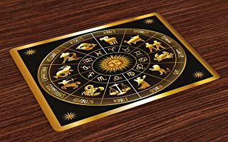 Ambesonne Astrology Place Mats Set of 4, Wheel Zodiac Astrology Signs in Circle with Sun Moon Image Circle, Washable Fabric Placemats for Dining Room Kitchen Table Decor, Army Green
