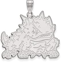 Texas Christian University Horned Frogs School Mascot Pendant in Sterling Silver 22x29mm